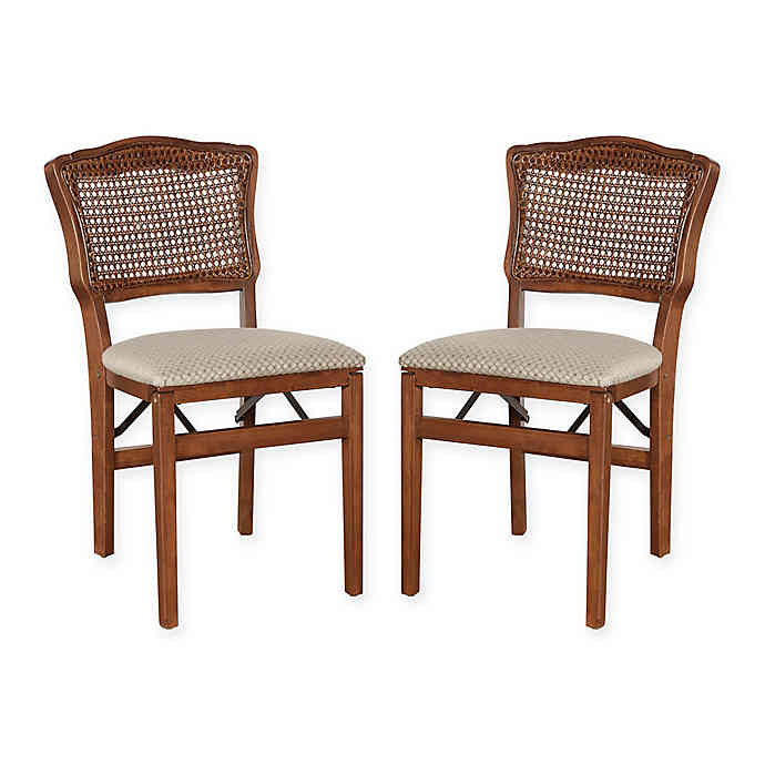 Stakmore French Cane Back Wood Folding Chairs (Set of 2