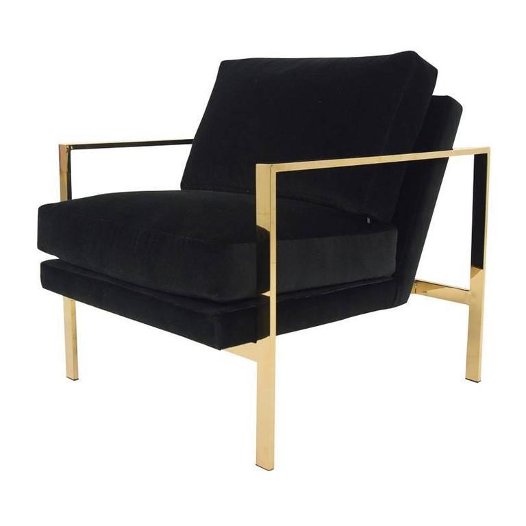 Mid Century Modern Style Armchair In Black Velvet W Brass