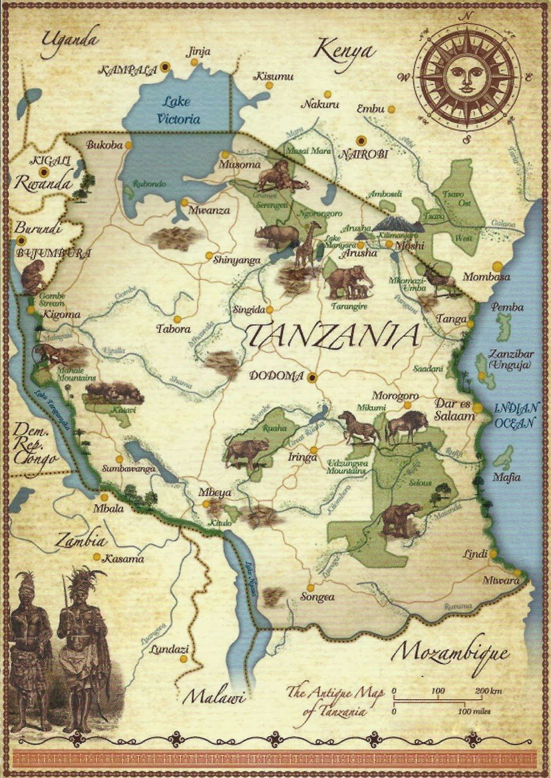 Where Is Mount Kilimanjaro On A Map Of Africa.A Journey Of Postcards Map Postcard Wish List In 2019 Africa