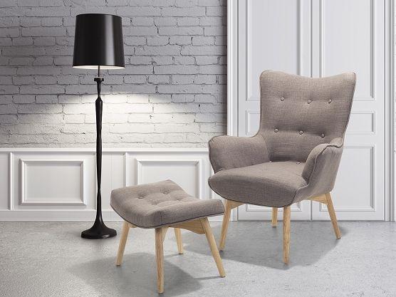 Fotel Jasnoszary + Pufa   Fotel Tapicerowany   Krzesło   VEJLE