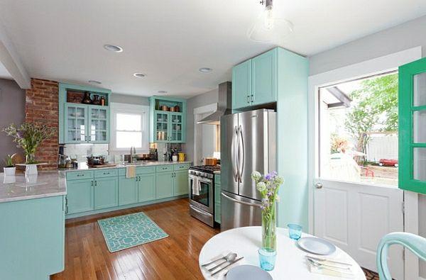 retro küche seladongrün schranksystem helles parkett haus Pinterest - Parkett In Der Küche