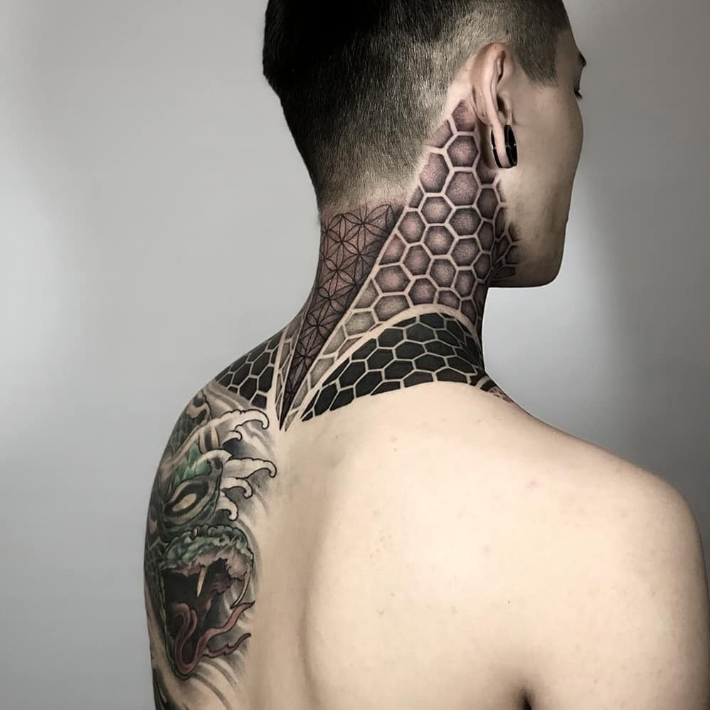 Geometric Neck Tattoo By Roxiehart666 Neck Tattoo Tattoos Polynesian Tattoo