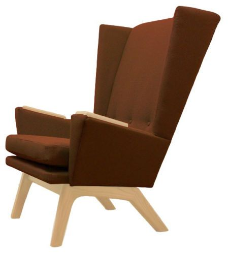 Mcm Multi Colored Accent Chair: Brown-Mid-Century-Modern-Lounge-Chair-Accent-Club-Wingback