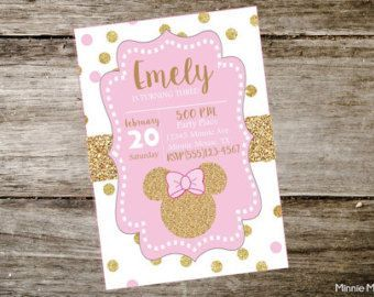 Minnie mouse birthday invitationpink and gold by katyjokrafties minnie mouse birthday invitationpink and gold by katyjokrafties solutioingenieria Choice Image