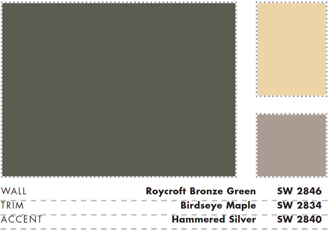 Sherwin Williams Roycroft Bronze Green A Fourth Color Could Be Copper Red Sw2839 Or Polished Mahogany Sw2838