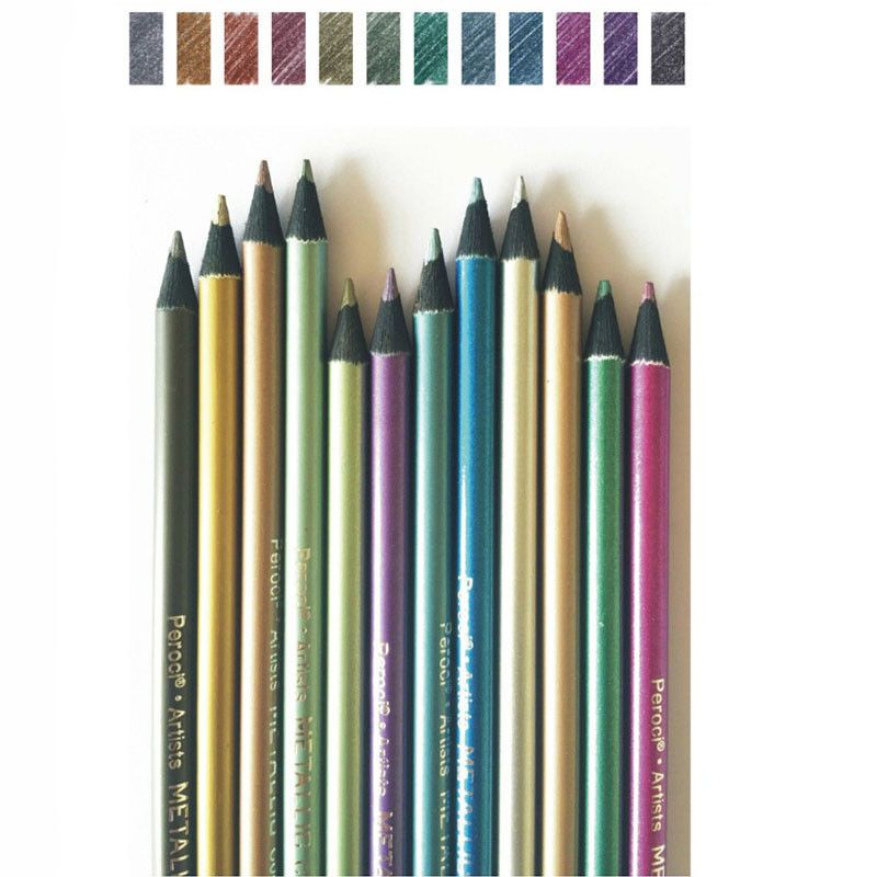 12 METALLIC COLOURED PENCILS DRAWING SKETCHING ART ARTIST PICTURE PENCIL DRAW