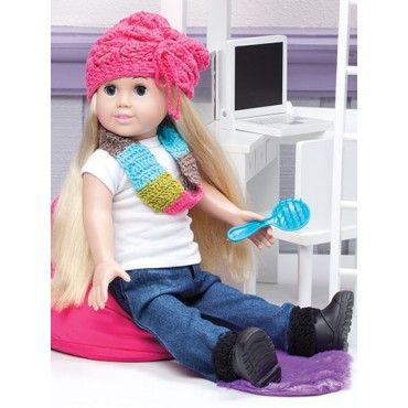On-The-Go Fashions for 18-inch Dolls American Clothes Crochet Patterns Hat Coat