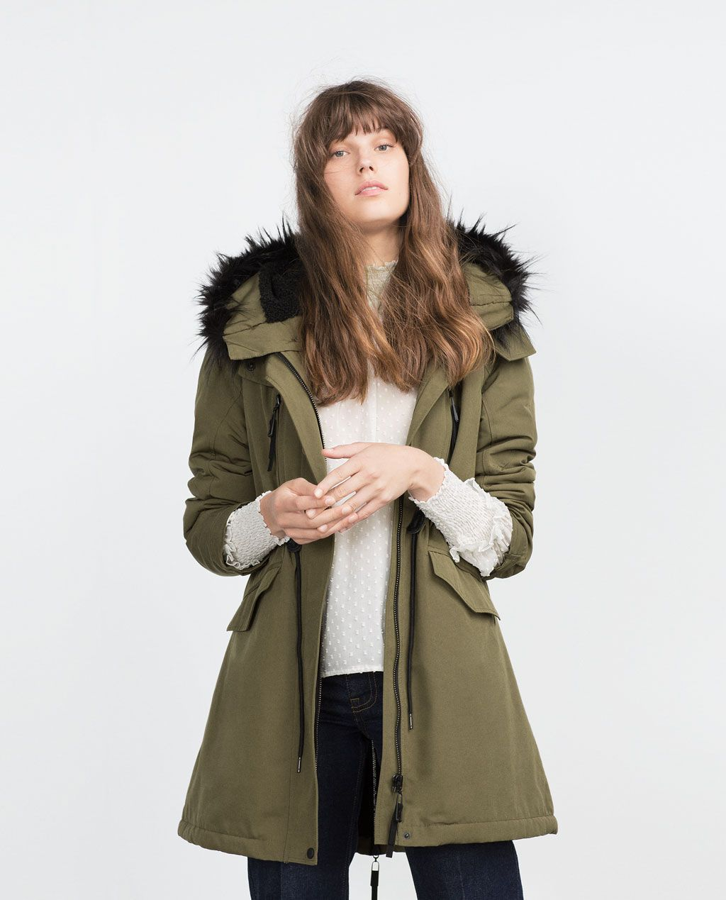 fleece lined parka parkas outerwear woman zara united states fall outfits pinterest. Black Bedroom Furniture Sets. Home Design Ideas