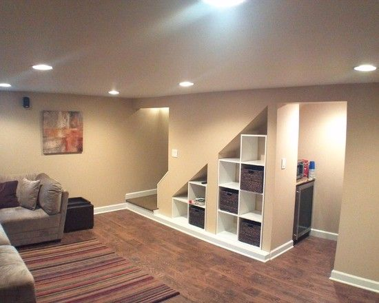 Awesome understairs shoe storage designs traditional basement niche with storage cubes under - Finish basement design ...