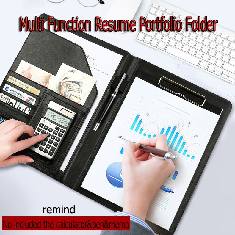 A4 Leather Multi function Portfolio File Folder Interview Resume - resume holder