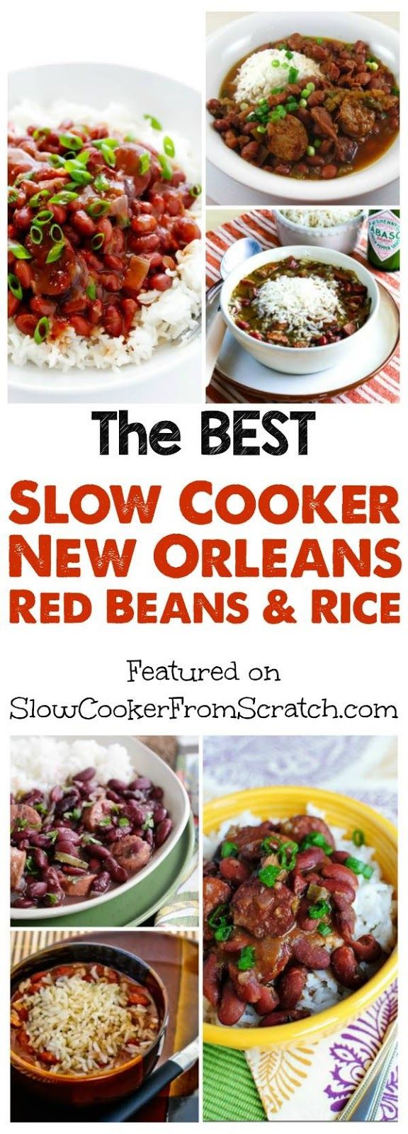 Here are The BEST Slow Cooker New Orleans Red Beans and Rice Recipes from food bloggers; this collection has red beans and rice recipes with ham, bacon, sausage, chicken sausage, and even some versions that are vegan! [featured on SlowCookerFromScratch.com]