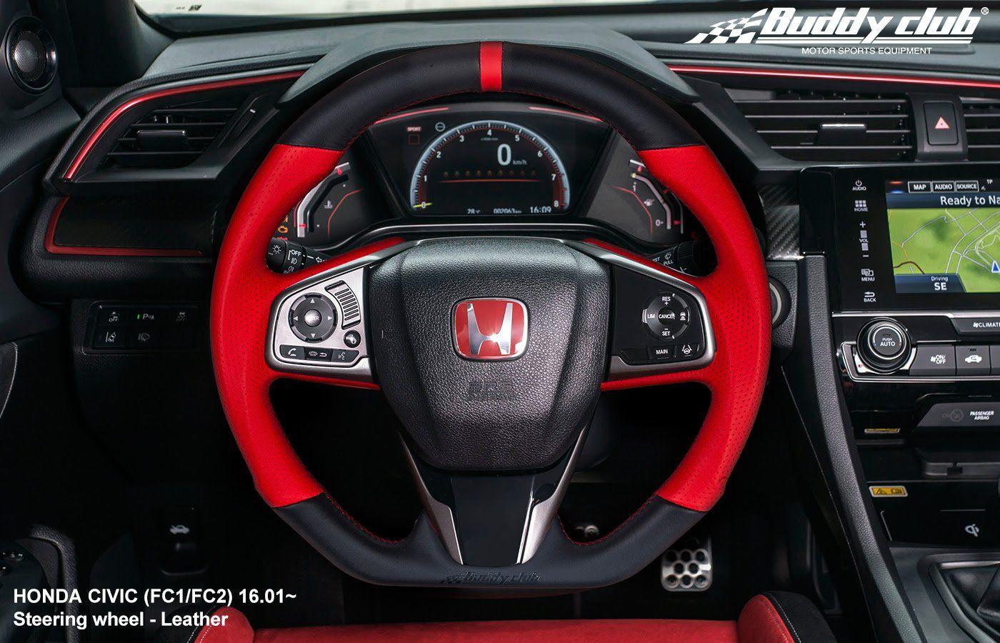 Buddy Club Steering Wheel Honda Civic 16 19 Civic Type R 17 19 Leather Or Carbon Honda Civic Honda Civic Sport Honda Civic Si