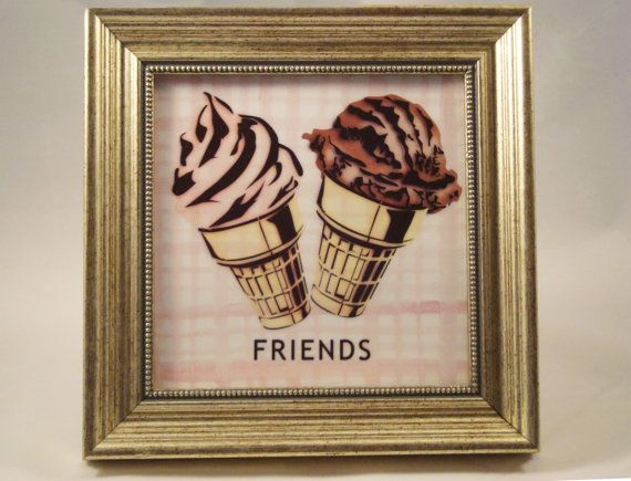 BFF best friend art, ice cream cones, chocolate and strawberry, soft serve and old fashioned ice-cream