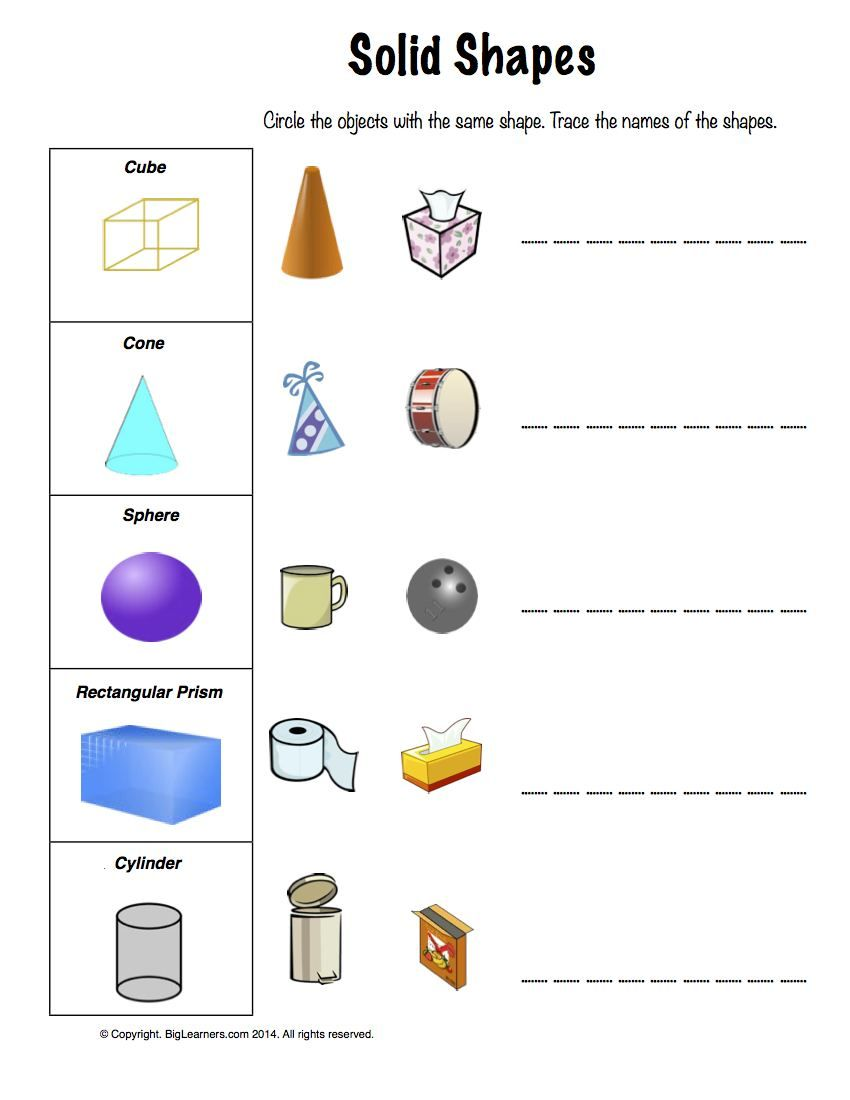 Worksheet   Solid Shapes   Circle the objects with the same shape. Trace  the names of the s…   Shapes worksheets [ 1100 x 850 Pixel ]