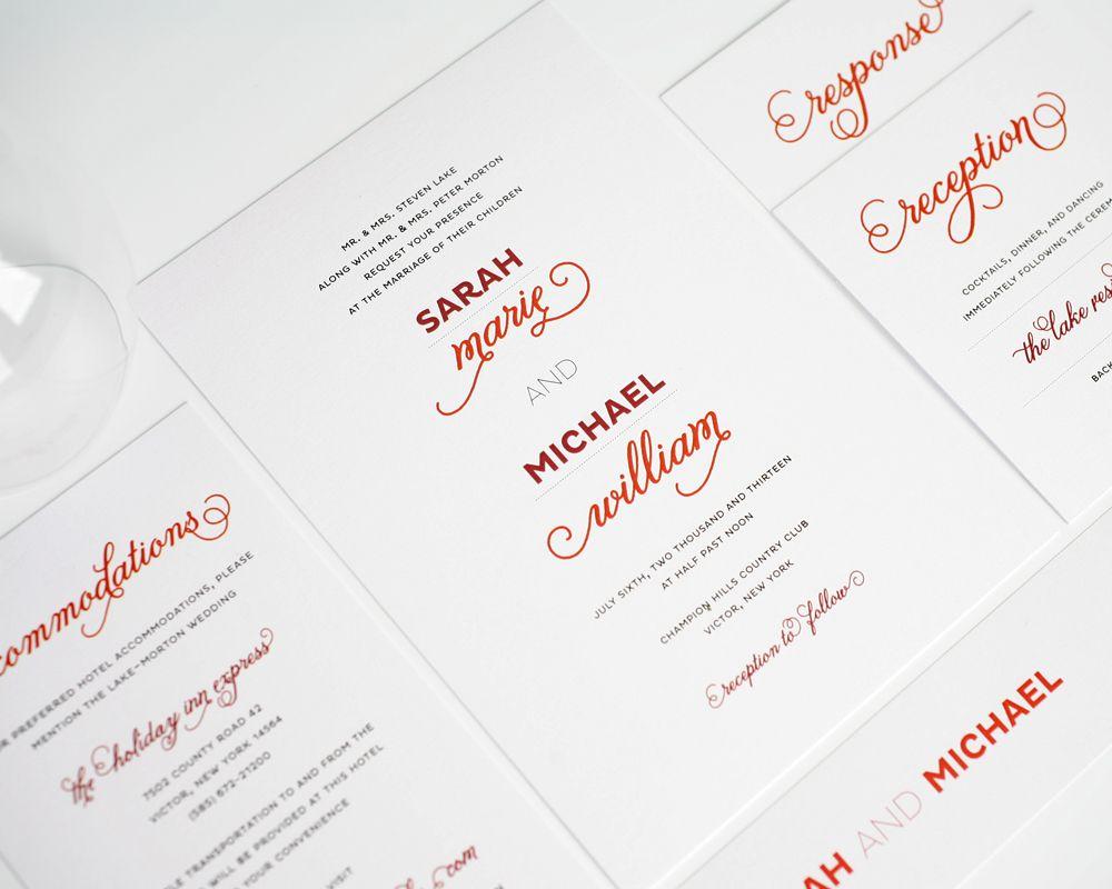 Modern Whimsy Wedding Invitations | Red wedding invitations, Red ...