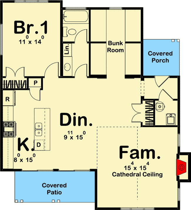 Plan 62712dj Cozy Cottage With Bunk Room Cottage Floor Plans Guest House Plans Small House Floor Plans
