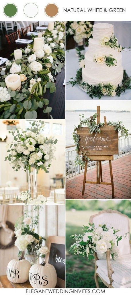 Chic Elegant And Rustic White And Green Wedding Color Ideas 2017