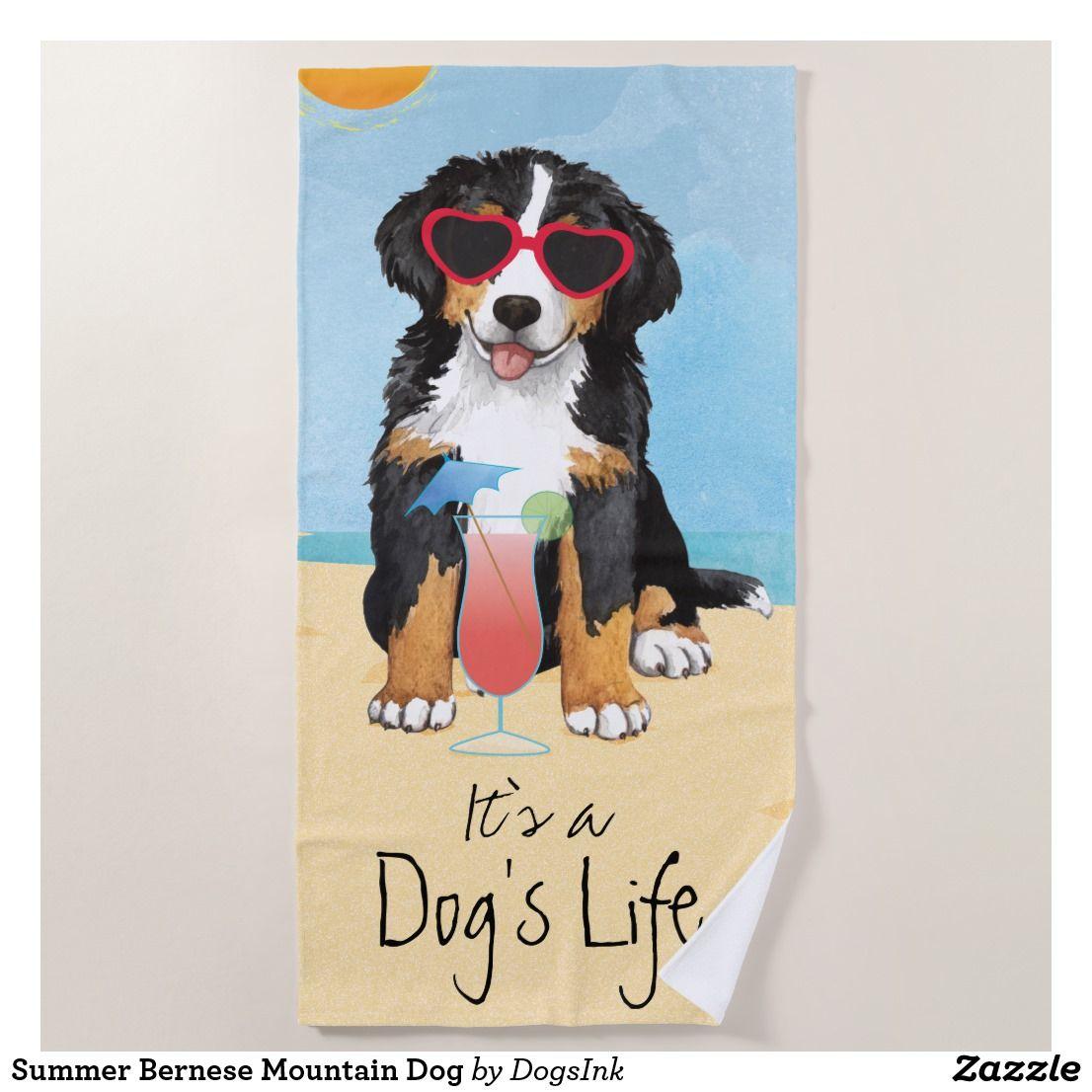 Summer Bernese Mountain Dog Beach Towel Mountain Dogs Dog Beach