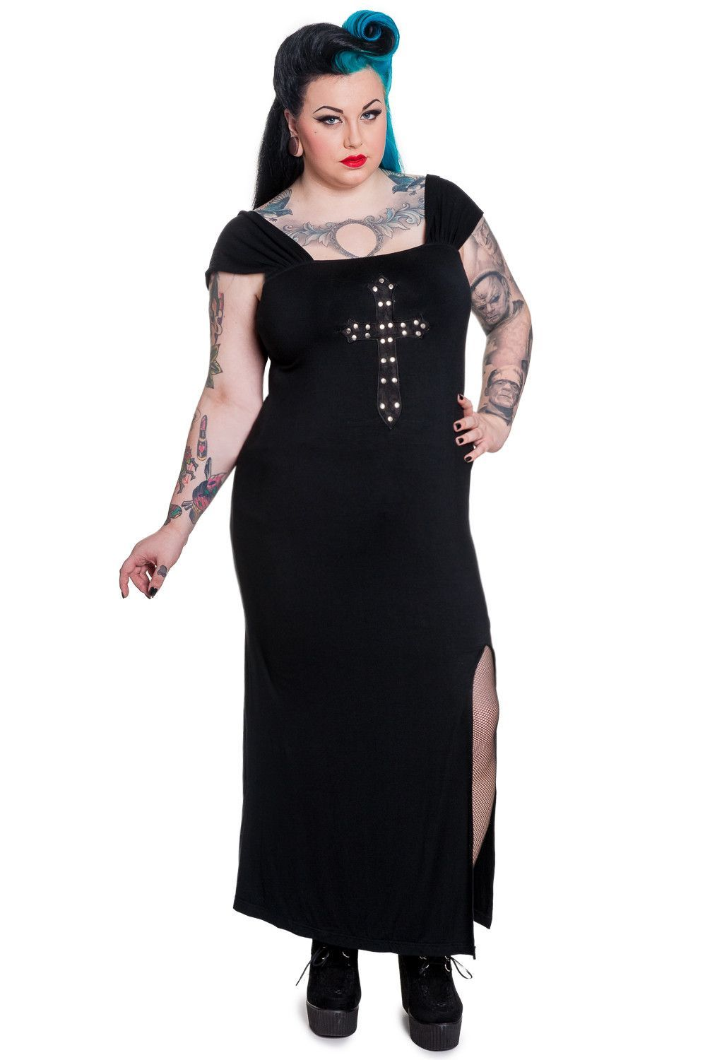 Plus size Queen of Goth Crucifix Black Long Dress by Spin Doctor in ...