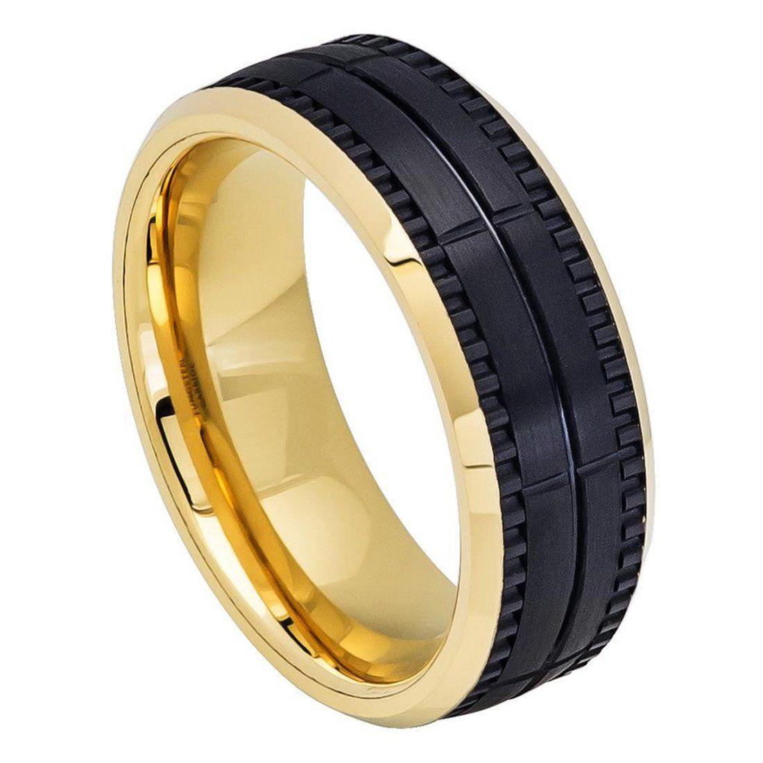 8mm Men Tungsten Wedding Band Ring TwoTone Yellow IP