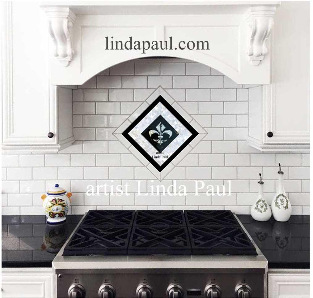 Fleur De Lis Mother Of Pearl Mosaic Tile Backpsplash Kitchen Backsplash Trends Decorative Tile Backsplash Tile Backsplash