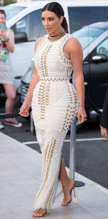 kim-kardashian-white-balmain-dress-rope-dress -aw14-celebrity-fashion-wedding-dress-designer-mailonline-cannes-boat-party