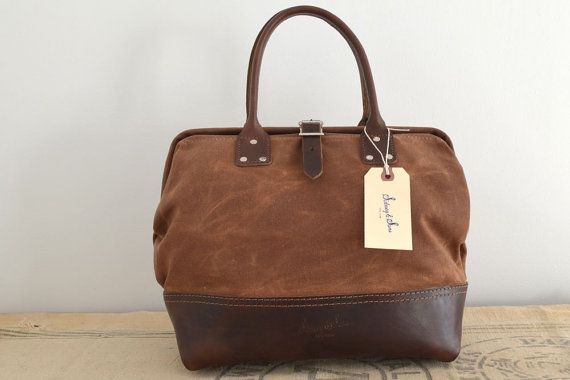 Alfie tan waxed canvas & dark brown leather bag by sidneyandsons, $150.00 on etsy -- very tempting