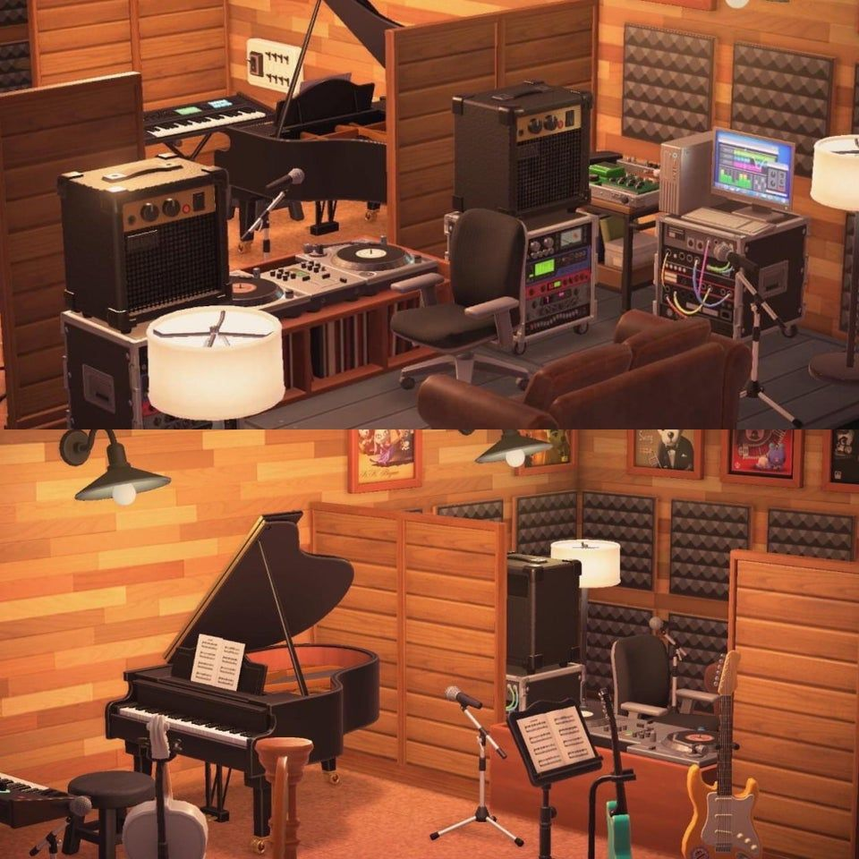 Created A Recording Studio In My Basement Animalcrossing In 2020 New Animal Crossing Animal Crossing Brick Path