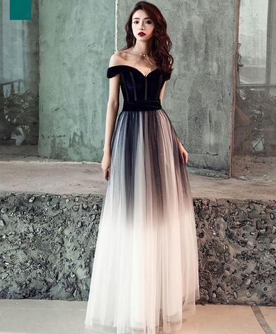Simple tulle off shoulder black long prom dress, black ...