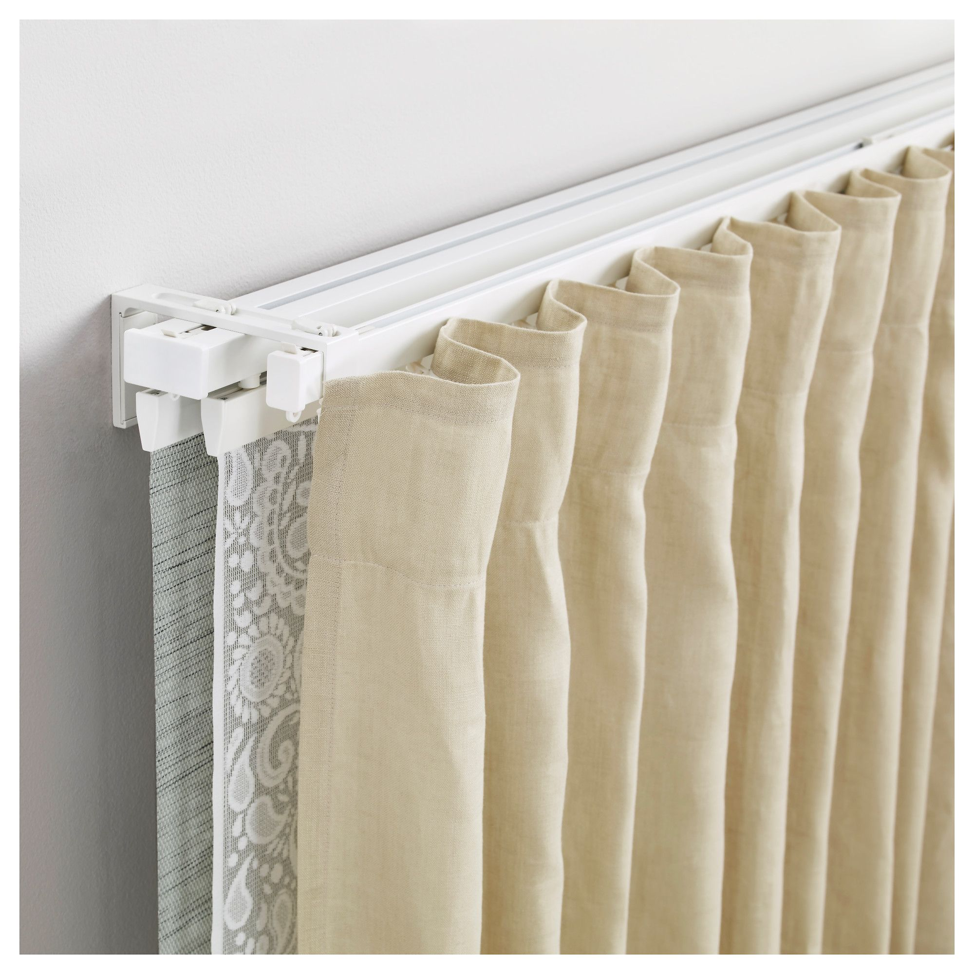 Ceiling Mount Track Curtain Rods Vidga Single And Triple Track Set White In 2019 Faxon 18