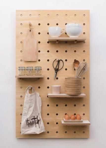 Peg-it-all Pegboard  Wall-mounted Storage Panel in birch plywood in