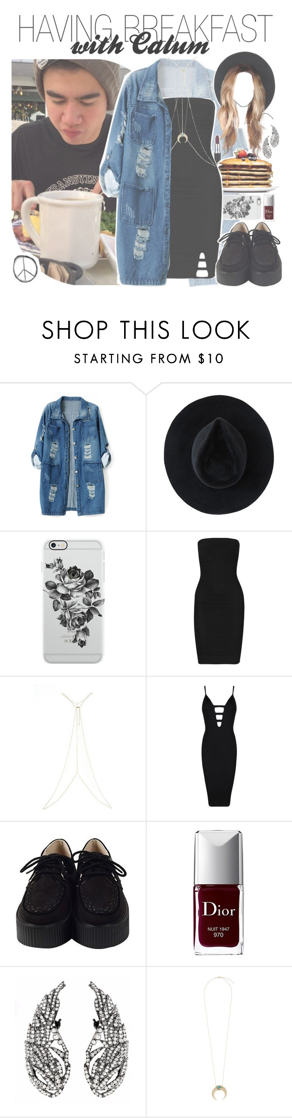 """""""having breakfast with calum"""" by fangirlsets ❤ liked on Polyvore featuring Chicnova Fashion, Ryan Roche, Uncommon, M.A.C, Hervé Léger, River Island, Posh Girl, Christian Dior and Jacquie Aiche"""