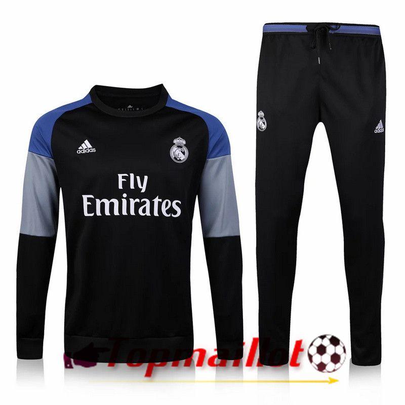 0d0a9b8ddca34 Survetement de foot Real Madrid Noir 2016 2017 Ensemble   Le plus ...