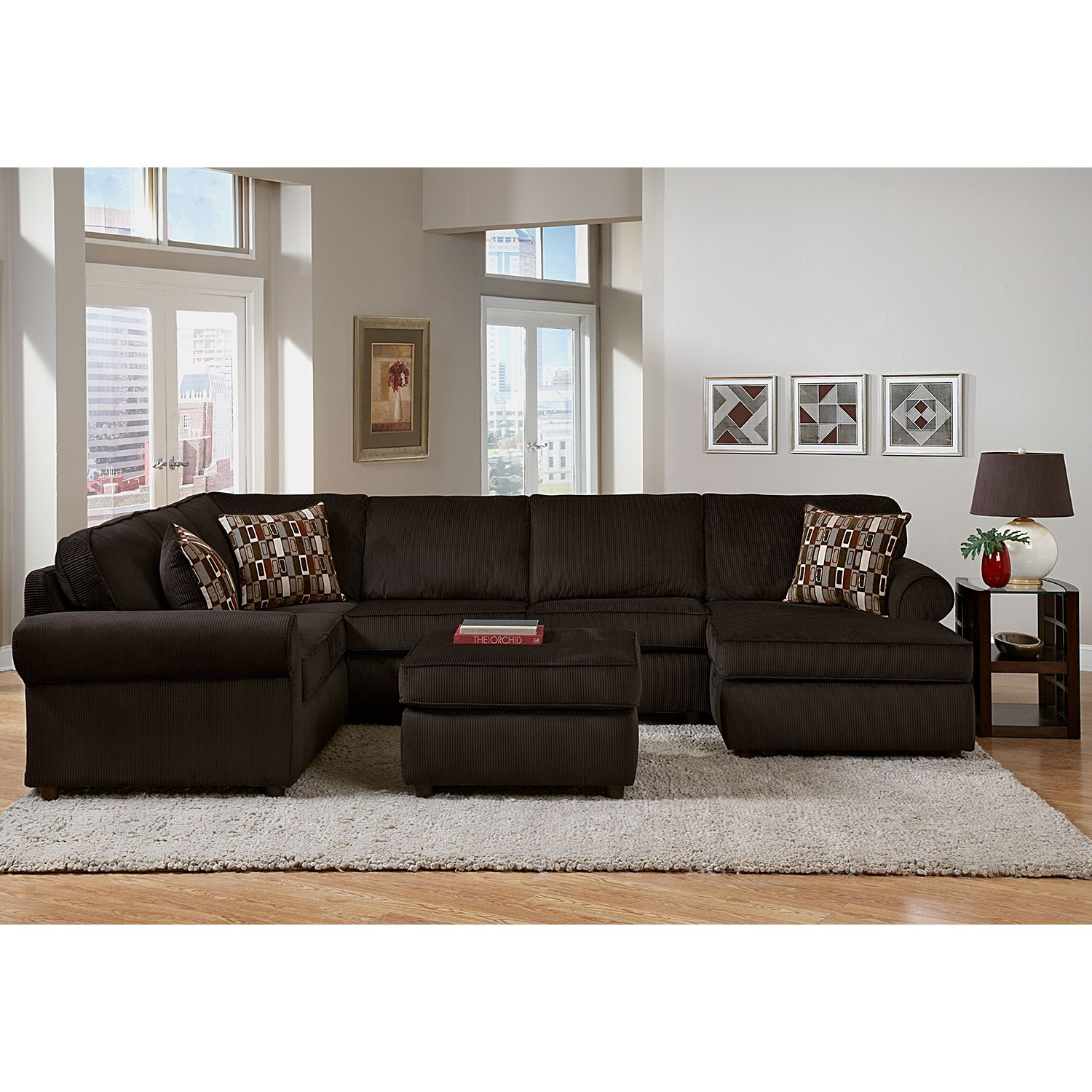 Monarch Upholstery 3 Piece Sectional Home Theater