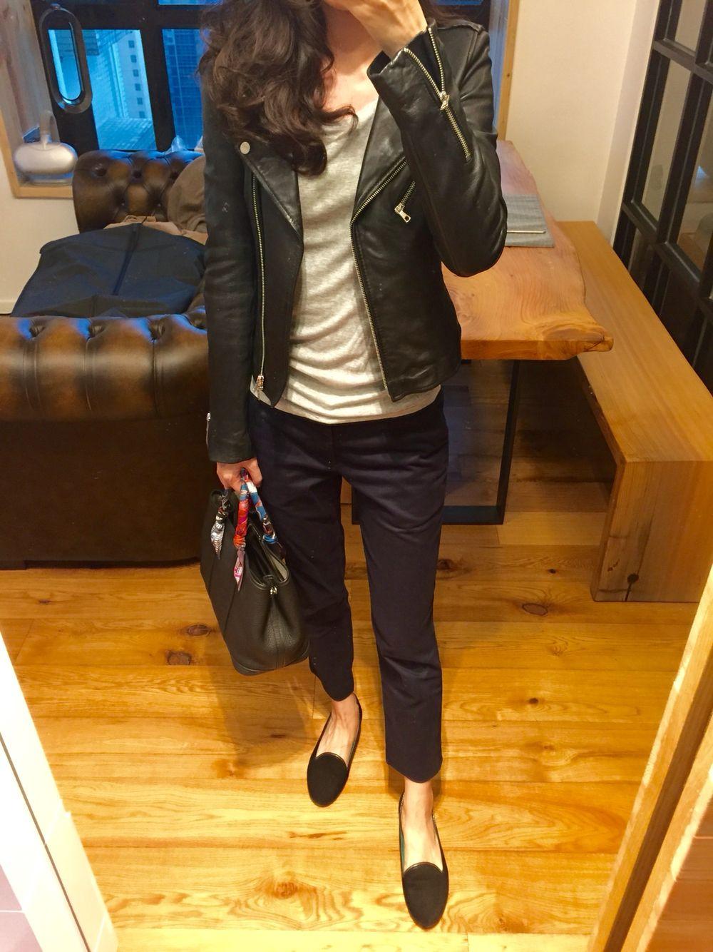 Leather jacket uniqlo - Zara Leather Biker Jacket H M Tee Uniqlo Chinos Velvet Slippers Hermes Garden