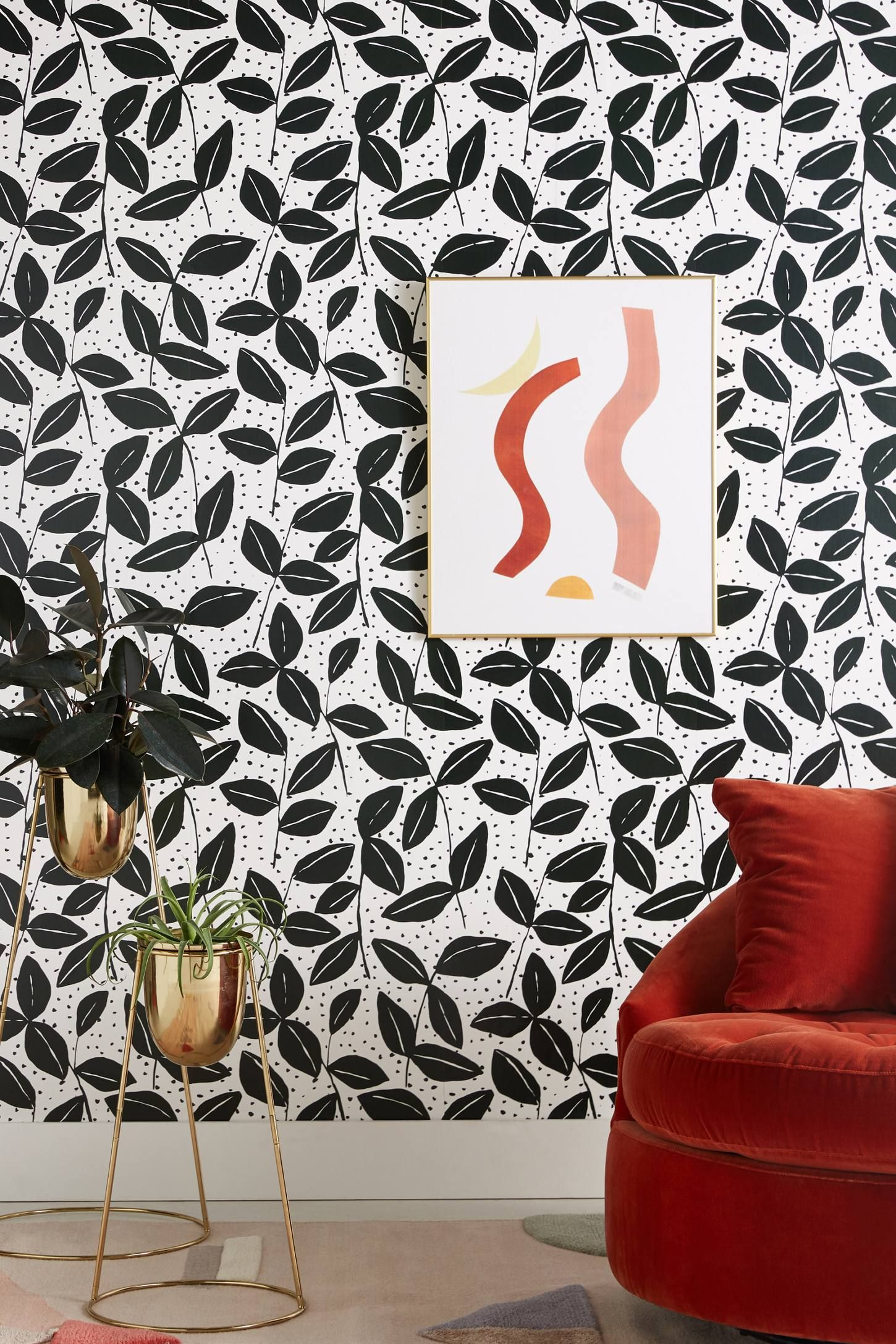 Black & White Garden Wallpaper - Anthropologie
