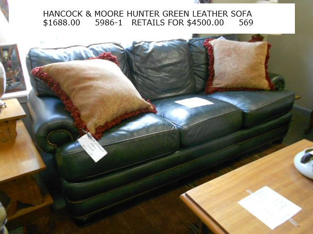 Han Moore Hunter Green Leather Sofa 1688 00 This Retails For 4500 A Great Deal