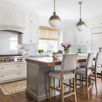 Thick Butcher Block Island Countertop With Gray Nailhead Counter Unique Kitchen Island Chairs Design Inspiration