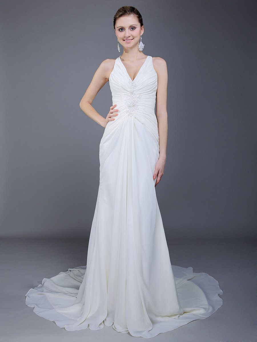 T back gathered bodice mermaid wedding dress shantel wedding ideas