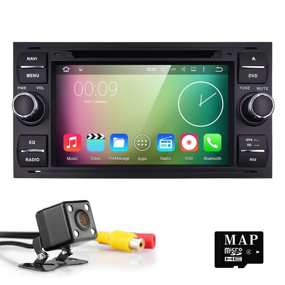 Android 5 1 4 core 2 din 2g ram car dvd player for focus galaxy fiesta s
