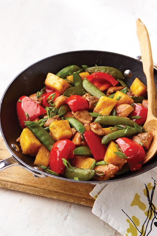 Sesame-Pineapple Chicken Stir-Fry – This 25-minute chicken recipe gets its sweet and colorful appeal from red peppers, chunky pineapples, and sugar snap peas. It is sure to be enjoyed at your dinner table tonight!