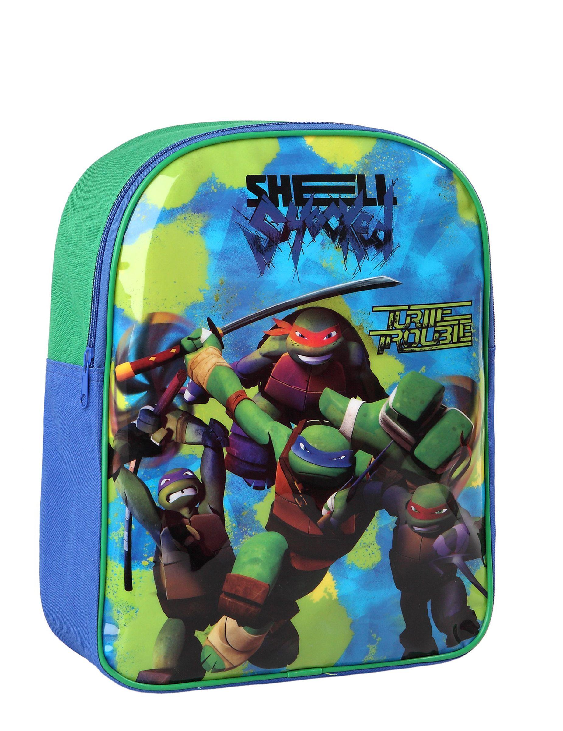 Mochila Tortugas Ninja™: Esta mochila tiene licencia oficialTortugas Ninja™.Es de tela verde y azul con creamallera y tirantes…