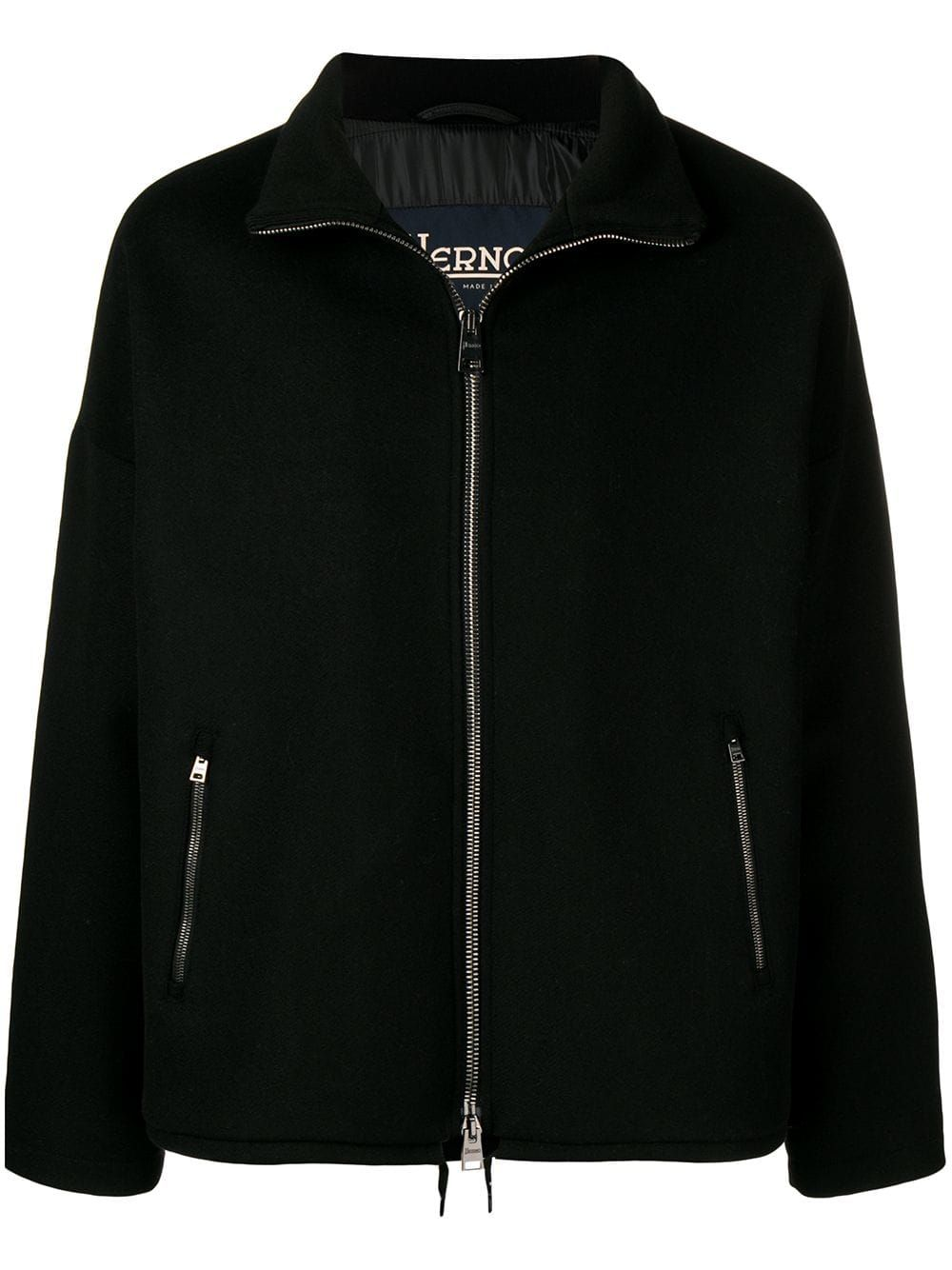 Herno herno zipup fleece jacket black herno cloth herno in