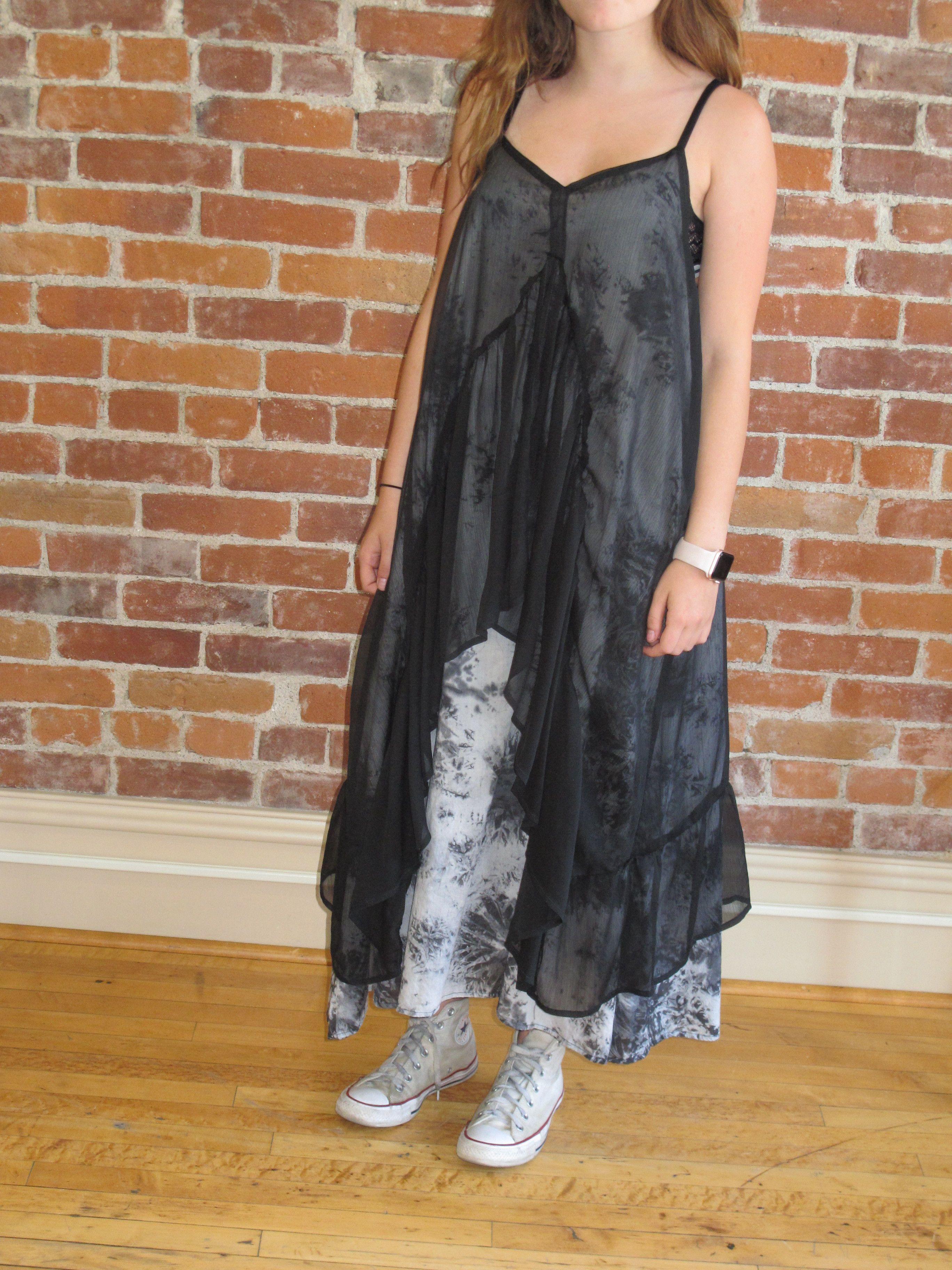 Black tie dye spaghetti strap wearable art maxi dress black tie