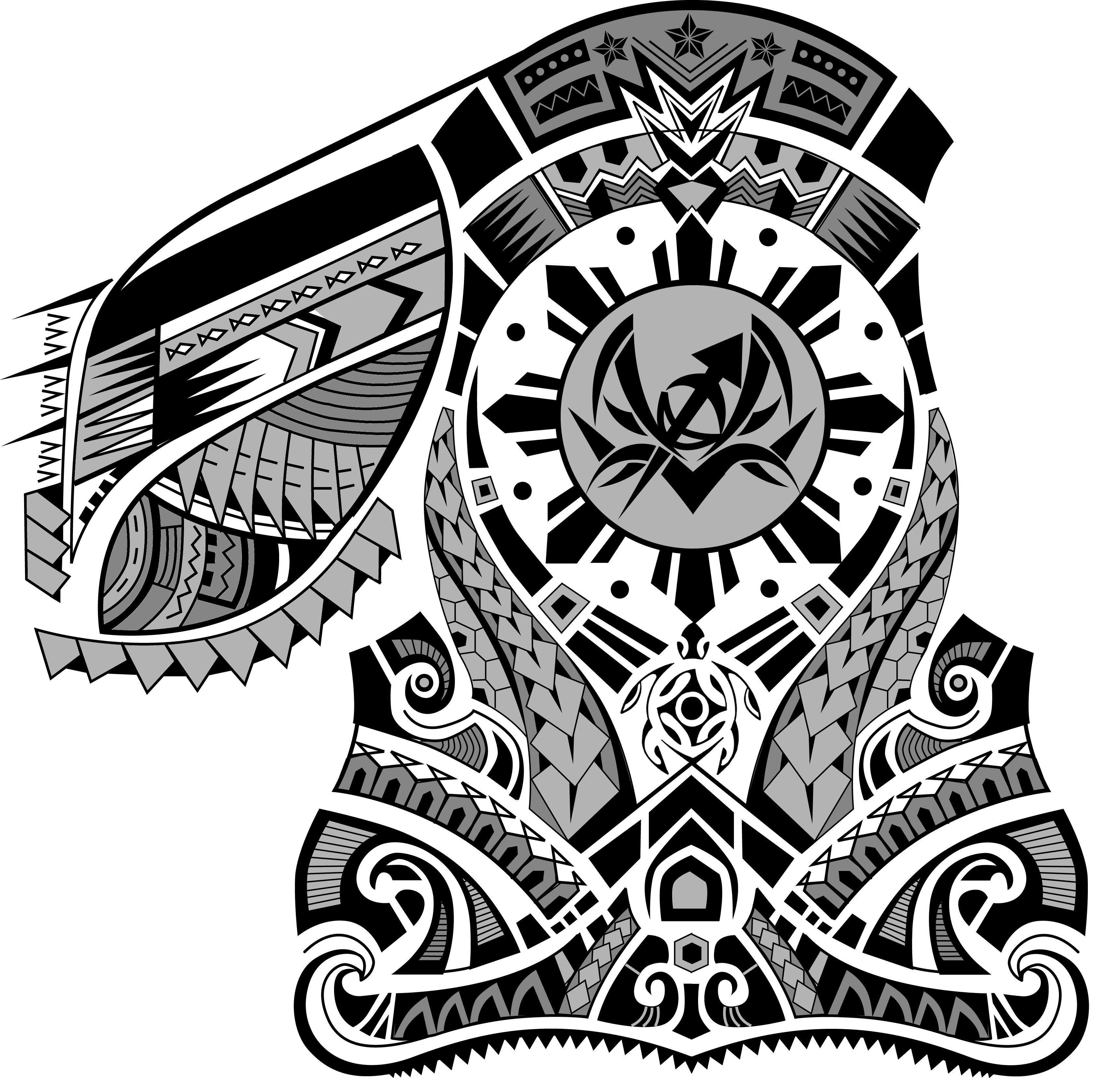 Polynesian Chest Half Sleeve Tattoo Design. Designer