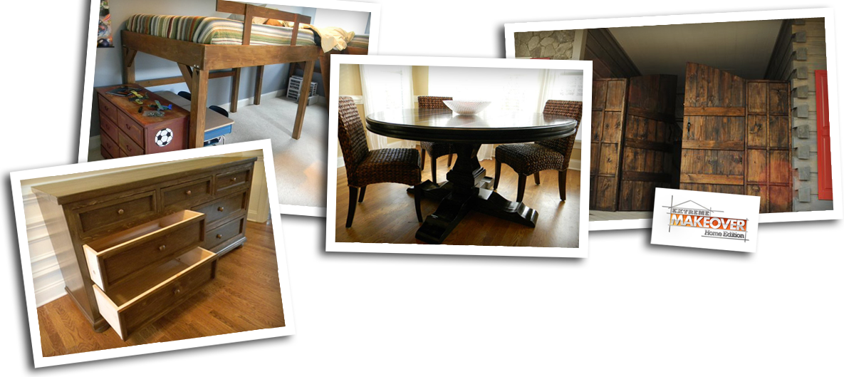 Local Farmhouse Dining Room Table with Bench and Chairs