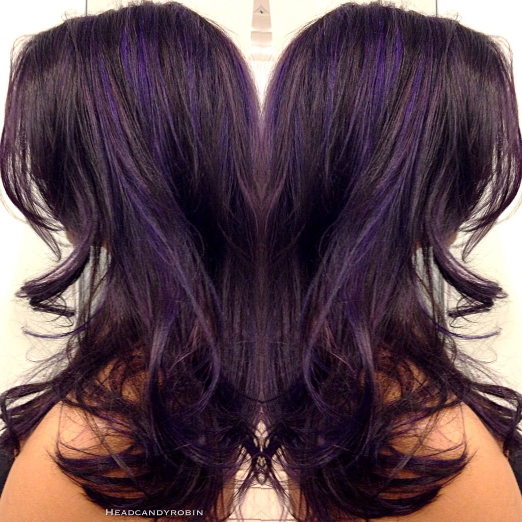 Purple Highlights On Dark Plum Hair By Robin Hair Highlights