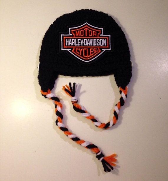 0 3 Harley Davidson Inspired Crochet Hat Baby Beanie Motorcycle Hat