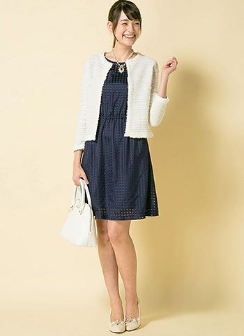 194f6243ff113 白ノーカラージャケット+紺ワンピの上品可愛い入園式・卒園式コーデ ...