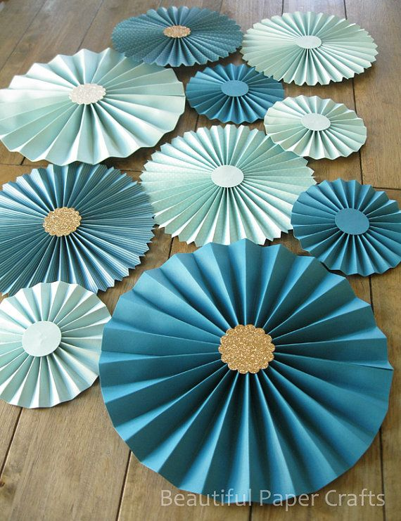 pc aqua teal rosettes paper fans wedding by beautifulpapercrafts also pc pink and gray chevron pinwheel baby rh pinterest